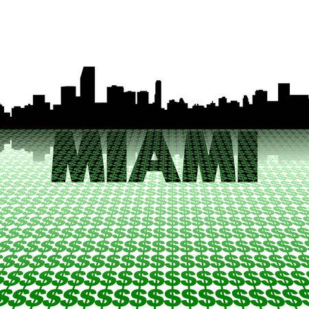 Miami skyline reflected with dollar symbols illustration illustration