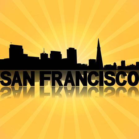 san rays: San Francisco skyline reflected with sunburst illustration