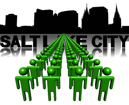 Lines of people with Salt Lake City skyline illustration illustration