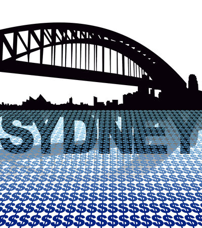 sydney skyline: Sydney skyline reflected with dollar symbols illustration