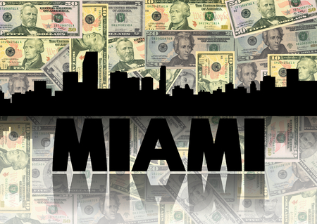 Miami skyline reflected with dollars illustration illustration