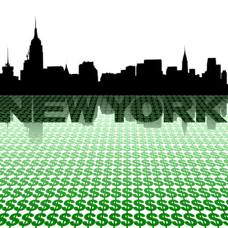 midtown: New York skyline reflected with dollar symbols illustration