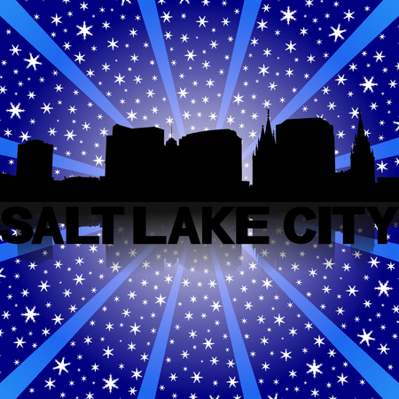 salt lake city: Salt Lake City skyline reflected with snow burst illustration