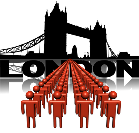 london tower bridge: Lines of people with Tower Bridge London illustration