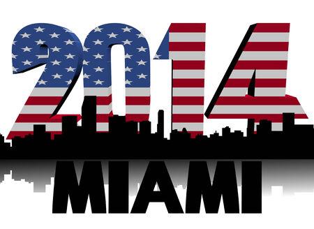 Miami skyline with 2014 American flag text illustration illustration