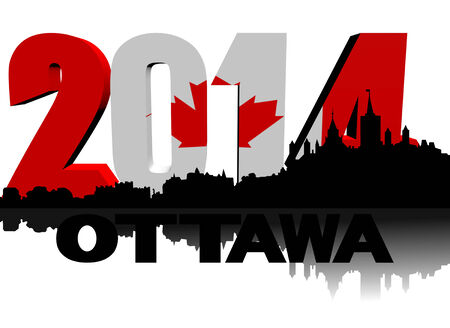 canadian flag: Ottawa skyline with 2014 Canadian flag text illustration