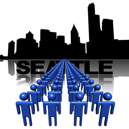 seattle skyline: Lines of people with Seattle skyline illustration