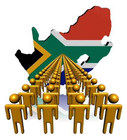 Lines of people with South Africa map flag illustration illustration