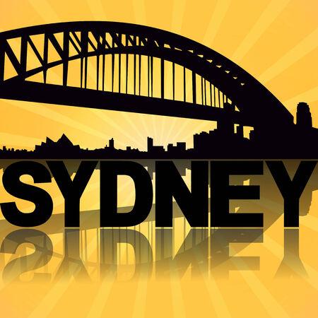 sydney skyline: Sydney skyline reflected with sunburst illustration