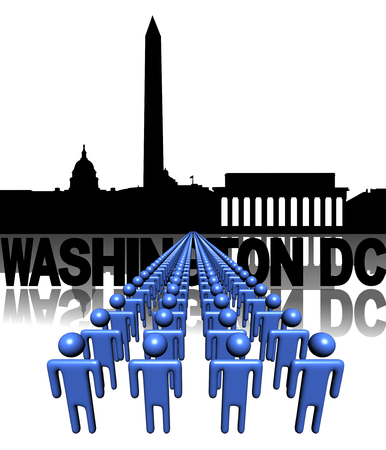 Lines of people with Washington DC skyline illustration illustration