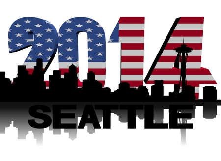 seattle skyline: Seattle skyline with 2014 American flag text illustration