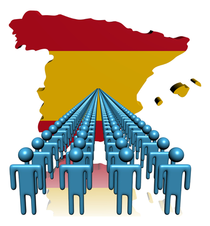 multitude: Lines of people with Spain map flag illustration Stock Photo