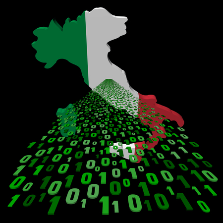 Italy map flag with binary foreground illustration illustration