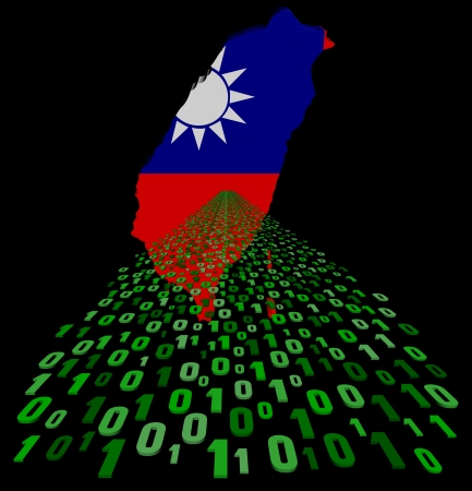 Taiwan map flag with binary foreground illustration illustration