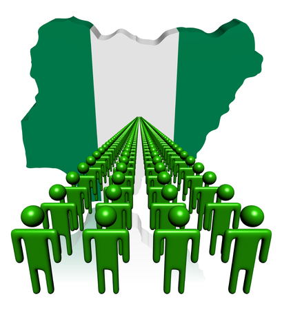 multitude: Lines of people with Nigeria map flag illustration Stock Photo
