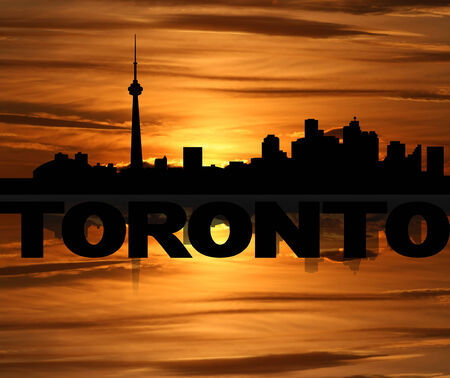 toronto: Toronto skyline reflected with text and sunset illustration