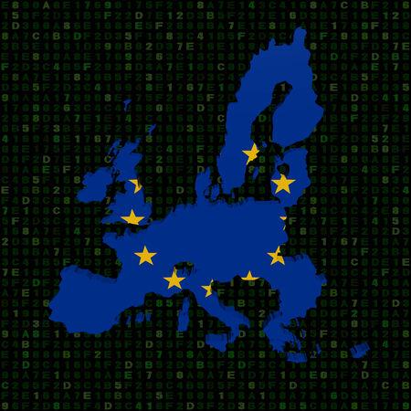 hex: EU map flag on hex code illustration