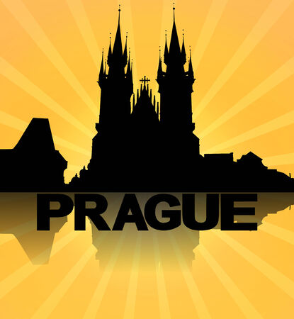 Prague skyline reflected with sunburst illustration illustration