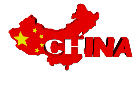 China map flag with overlapping text illustration illustration