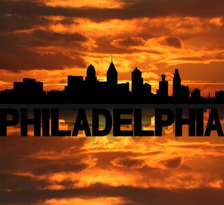 philadelphia: Philadelphia skyline reflected with text and sunset illustration