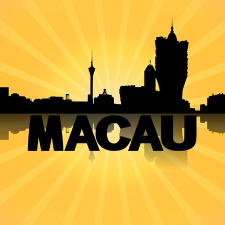 macau: Macau skyline reflected with sunburst illustration Stock Photo