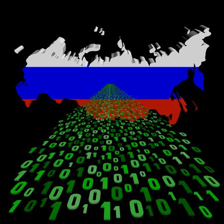 russland karte: Russland Karte Flagge mit bin�ren Vordergrund Illustration