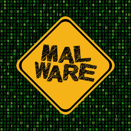 insecure: Malware warning sign on hex code illustration