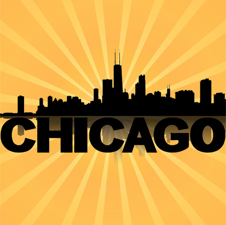 chicago skyline: Chicago skyline reflected with sunburst illustration