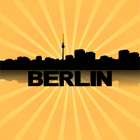 Berlin skyline reflected with sunburst illustration  Vector