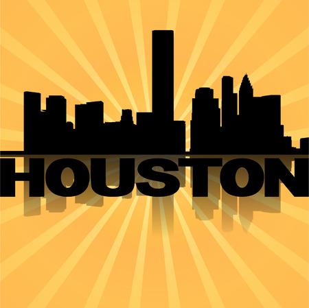 houston: Houston skyline reflected with sunburst illustration