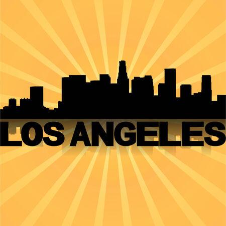 los angeles: Los Angeles Skyline spiegelt mit Sonnendurchbruch-Illustration