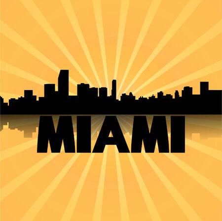 Miami skyline reflected with sunburst illustration  Vector