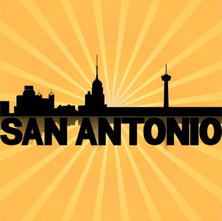 San Antonio skyline reflected with sunburst illustration