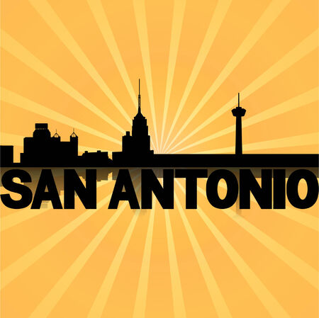 san rays: San Antonio skyline reflected with sunburst illustration