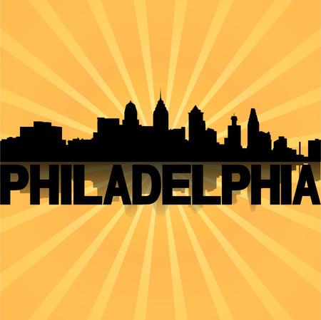 philadelphia: Philadelphia skyline reflected with sunburst illustration  Illustration