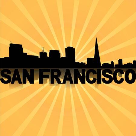 San Francisco skyline reflected with sunburst illustration  Illustration