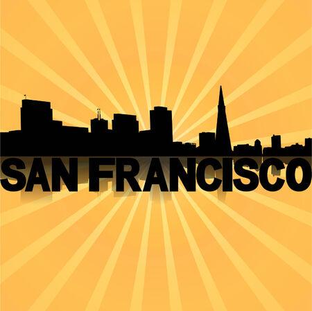 san rays: San Francisco skyline reflected with sunburst illustration  Illustration