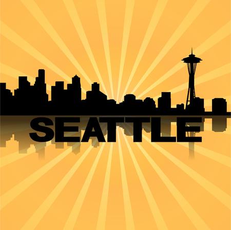 seattle skyline: Seattle skyline reflected with sunburst illustration