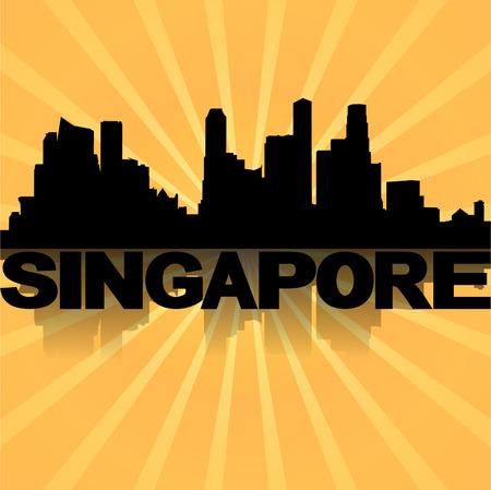 singapore skyline: Singapore skyline reflected with sunburst illustration