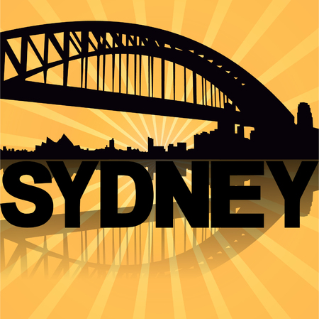 Sydney Harbour Bridge reflected with sunburst illustration  Vector