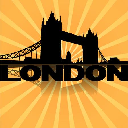 tower bridge: Tower Bridge London  reflected with sunburst illustration