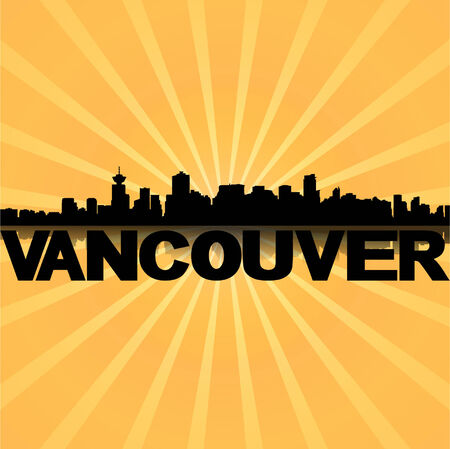 vancouver: Vancouver skyline reflected with sunburst illustration