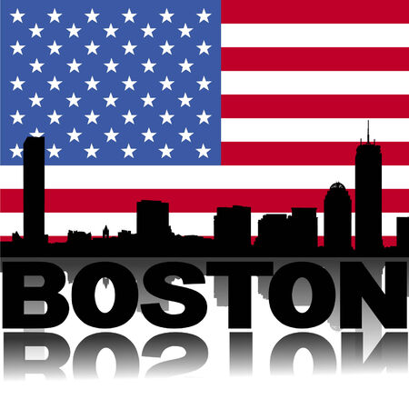 Boston skyline and text reflected with flag vector illustration Illustration