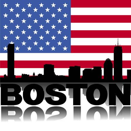 boston skyline: Boston skyline and text reflected with flag vector illustration Illustration