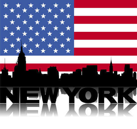 New York skyline and text reflected with flag vector illustration Vector