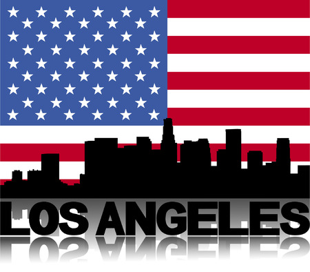 los angeles: Skyline von Los Angeles und Text spiegelt mit Flag vector Illustration Illustration