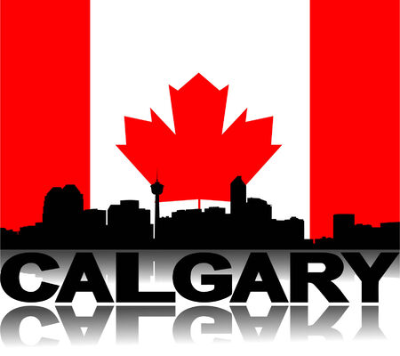 calgary: Calgary skyline and text reflected with flag vector illustration
