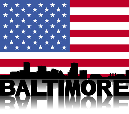baltimore: Baltimore skyline and text reflected with flag vector illustration