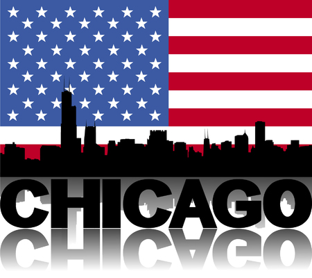 chicago skyline: Chicago skyline and text reflected with flag vector illustration