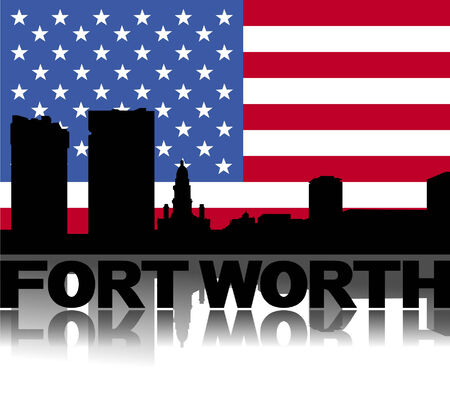 Fort Worth skyline and text reflected with flag vector illustration Vector